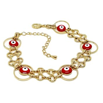 "(1-0446-h5) Gold Plated Red Evil Eye Bracelet, 7""-9""."
