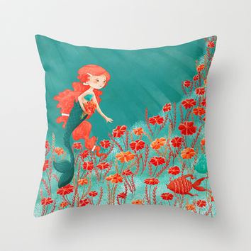 The Little Mermaid Throw Pillow by Stephanie Fizer Coleman