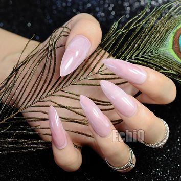 24pcs Sharp Stiletto Finished Nail Tips Extra Long Full Wrap Acrylic Nails Pink Marble Design Fake Nails with Glue Sticker Z716
