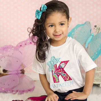 Bow wth Letter Embroidered Shirt - Letter Bow Shirt - Birthday Bow Shirt - Birthday Party Shirt - Applique Letter with Bow - Bow Party Shirt
