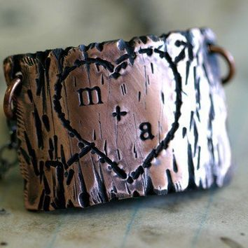 Tree Bark Lovers Carving Copper Necklace by monkeysalwayslook