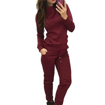 Autumn Winter Sport Suit Women Tracksuits Wine Pullover Top Shirts Running Set Jogging Suits Sweat Pants 2pac Sportswear