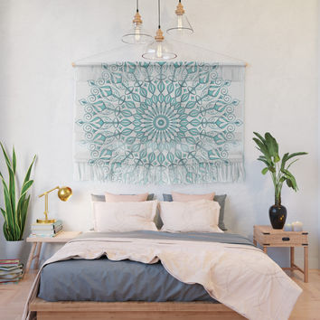 Aqua mandala Wall Hanging by juliagrifoldesigns
