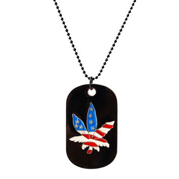 American Flag Hemp Leaf Round Rectangle Pendant Necklace