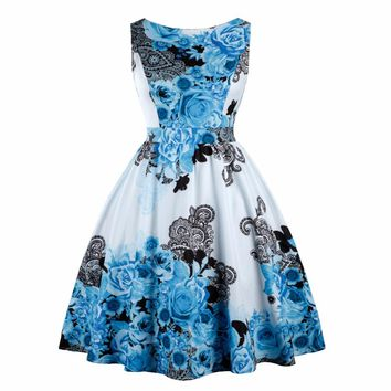 Women Retro Dress 50s 60s Vintage Pin Up Rockabilly Swing Feminino Vestidos Floral Pattern Sleeveless Party Dresses With Bow 3XL