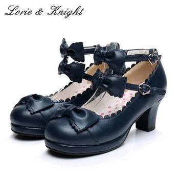 Japanse Harajuku Sweet Princess Girls Double Bowtie Straps Chunky High Heel Lolita Shoes