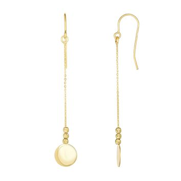 10K Yellow Gold Diamond Cut Bead+Flat Shiny Disc Drop Earring with Euro Wire Clasp