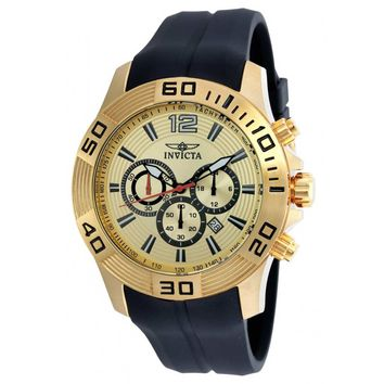Invicta 20302 Men's Pro Diver Gold Dial Yellow Gold Steel Black Silicone Strap Chronograph Watch