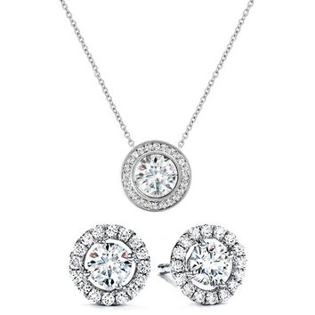 Circle Halo Swarovski Elements Necklace & Earrings Set in 14K Gold Plating - Three Options Available