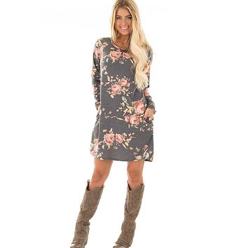 'Tandy' Floral Long Sleeve Printed Dress