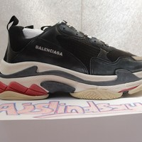 BALENCIAGA TRIPLE S 2018 SNEAKER BLACK RED WHITE EU45 AUTHENTIC NEW WITH BOX