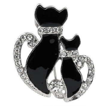 Cat and Kitten Silver-Tone Jeweled Pin