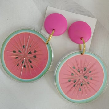 Vintage 80s Neon Watermelon Earrings