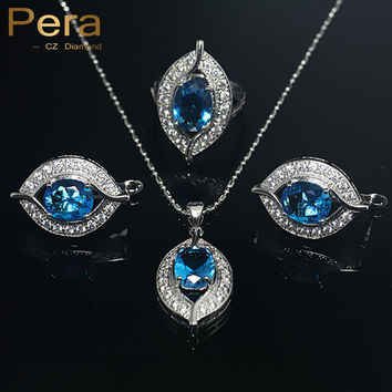 925 Sterling Silver Jewelry Sets For Women 11 Colors CZ Crystal Wedding African Bridal Simulated Gemstone Jewerly Set J004