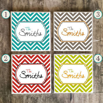 Drink Coasters, Personalized Family Name in Chevron Style, Ceramic Tiles, Housewarming Gift, Wedding, Choose Your Style and Send Us Name