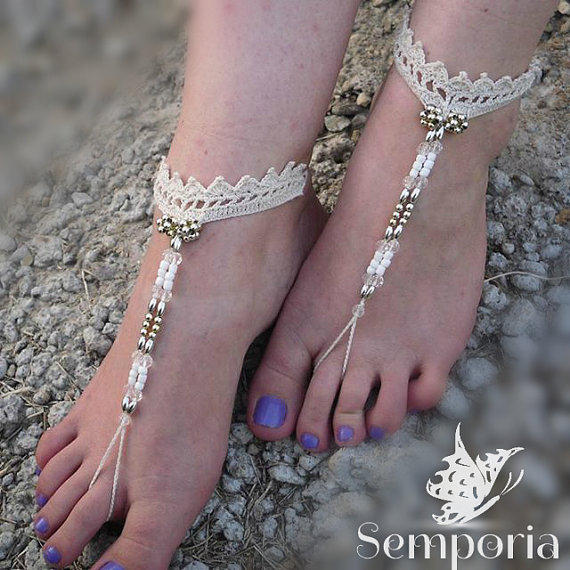 933fa0674c88 Bridal Barefoot Sandals-Crochet barefoot from Semporia on Etsy