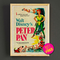 Vintage Disney Peter Pan Poster Neverland Print Home Wall Decor Gift Linen Print - Buy 2 Get 1 FREE - 365s2g