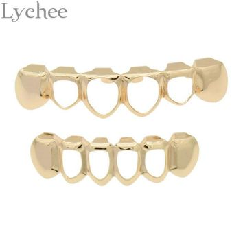 DKF4S Lychee 1 set Gold Color Hip Hop Teeth Rock Style Hollow Grillz Caps Top Bottom Dental Grills Vampire Teeth for Halloween Party