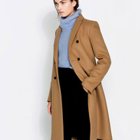 2015 Fashion ZA New Women Blazer collar Long Boyfriend Trench Coat with 2 buttons Female Straight cut Tomboy overcoat