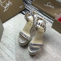 Christian Louboutin Summer New Muffin with Sandals Rivets Platform Sandals F-ALS-XZ silver