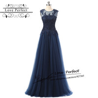 Navy Blue Evening Dresses Sleeveless Tulle A Line  Robe De Soiree Longue Floor Length Appliques Cheap Formal Party Gown Elegant