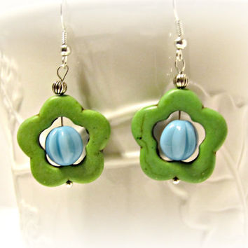 Green Howlite Flower with Light Blue Center Earrings
