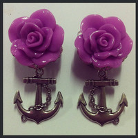 Purple Rose with Silver Anchor Ear Plugs