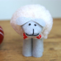 Gray & Cream Wool Sheep Christmas Ornaments, Christmas Ornaments for Knitters