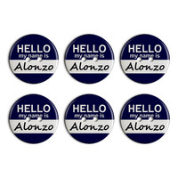 Alonzo Hello My Name Is Plastic Resin Button Set of 6