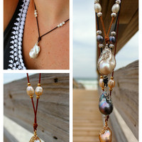 Baroque pearl wire wrapped on leather with slide knot