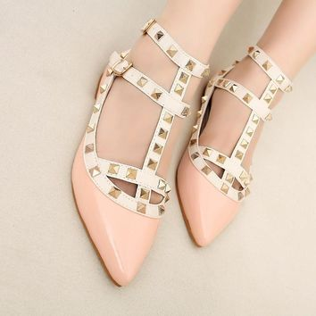 Leather Gladiator Rivet Pointed Toes Flat Shoes
