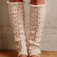 Lemon Pointelle Legwarmers in Cream Size: One Size Apparel