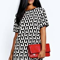 Monica Monochrome Woven Shift Dress | Boohoo