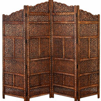 Benzara Villa Este Wood Room Divider 4 Panel Wood Carved Screen