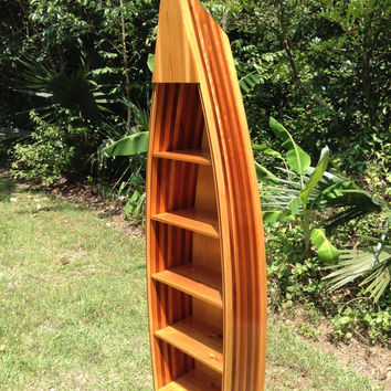 6 1/2ft  Handcrafted Wood Strip Boat Shelf Bookcase #bookshelf#boatshelf#shelves#canoeshelf