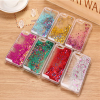Glitter Stars Dynamic Liquid Quicksand Hard Case Cover For iPhone 4 4s  5 5s 6 back cover Transparent Clear Phone Case