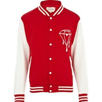 Red dripping diamond varsity jacket