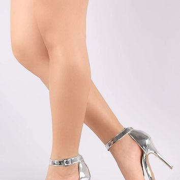 Anne Michelle Glossy Open Toe Ankle Strap Heel