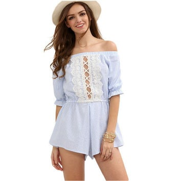 Blue and White Striped Lace Cross Strap Romper
