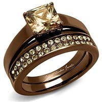 A Perfect 14K Chocolate Gold 2CT Princess Cut Champagne Diamond Bridal Set
