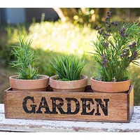 Wooden Garden Caddy with Three Pots