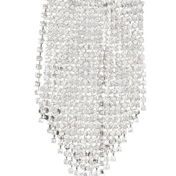 Clear Metal Mesh Chain Rhinestone Fringe Pin And Brooch