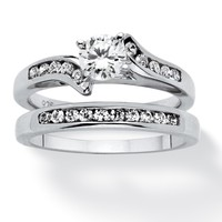 2 Piece 1 TCW Cubic Zirconia Bridal Ring Set in Sterling Silver