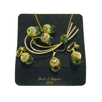 A Touch Of Elegance Juliana Vintage Costume Jewellery - Juliana for Sarah Coventry - Costume Jewelry - Peridot Necklace Earrings Pin