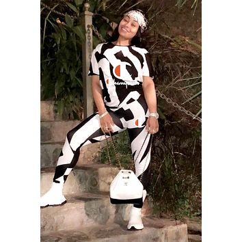 Champion 2019 new letter printing round neck women's two-piece suit White/Black