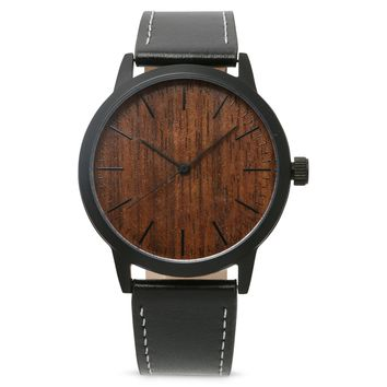 Minimalist Mens Sandal Wood and Steel Case watch