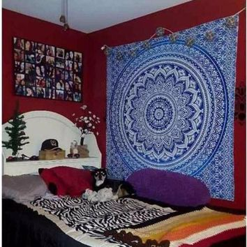 ICIKJG2 India Mandala tapestry hippie wall hang Bohemian bedspreads home decoration Europe and the United States wind large beach shawl