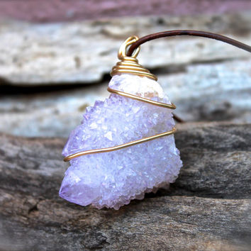 Spirit Quartz Necklace - Raw Stone Jewelry - Cactus Quartz Jewelry - Fairy Quartz Necklace - Gypsy Boho Jewelry - Gypsy Bohemian Necklace