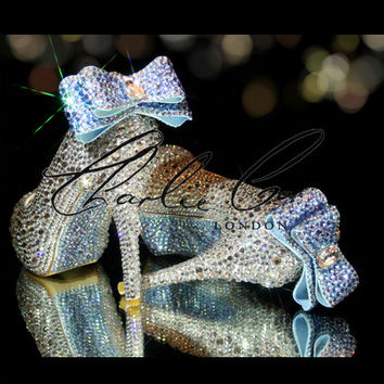"CHARLIE CO. 4.5"" Bella Blue Bow Clear Crystal Court Heels Pumps Stilettos Bridal Wedding Shoes Light Sapphire"