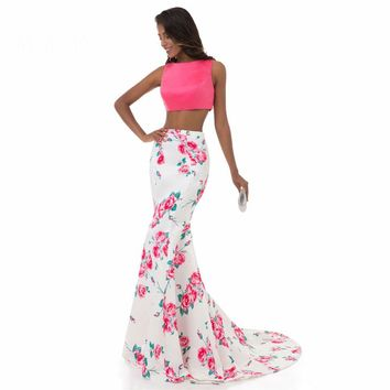 Long Two Piece Dresses Print Flowers Pattern Formal Party Dress Sleeveless Floral Evening Gowns